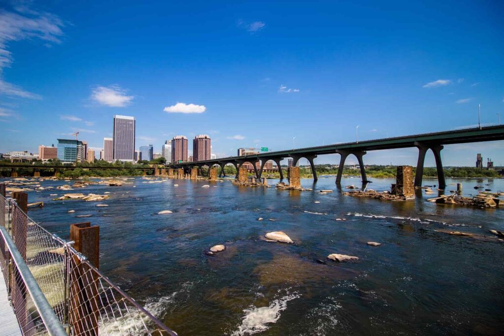 Richmond, Virginia with water bridge leading into the city