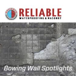bowing walls spotlights with damaged wall backdrop